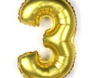32 Inch Gold Number Balloon, 3 Balloon, Three Balloon, Large Balloon, Giant Balloon, Number Balloon, Party Balloon, Birthday Balloon