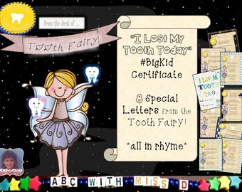 Tooth Fairy Letters and Big Kid Certificate! 8 Rhyming Letters from the Tooth Fairy for Boys and Girls-Lost Tooth Printable