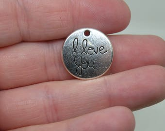 "11 Silver Tone ""I Love You"" Charms. B-001"