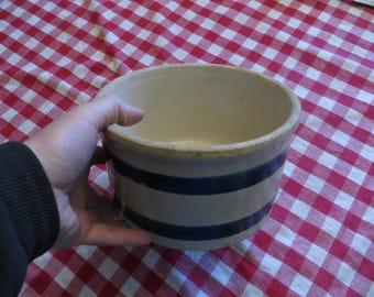 Stoneware, Crock, vintage with double blue ring and white glazing, primitive blue band pottery.