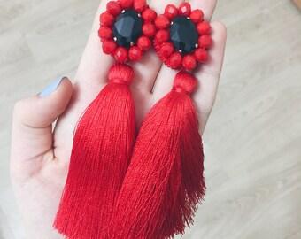 20%OFF Red tassels earrings