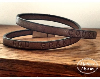 God Grant me the Serenity - Courage  - Double wrap Leather Bracelet, Hand Stamped • Recovery Jewellery. Hope. Strength. Love. Peace.