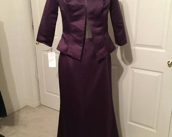 Deep Plum two piece long skirt and jacket dress from Eden Bridal size 14 - tags still on never worn!
