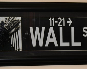 Wall Street 20x9.5 Framed with Mat Print Photo Black and White New York City
