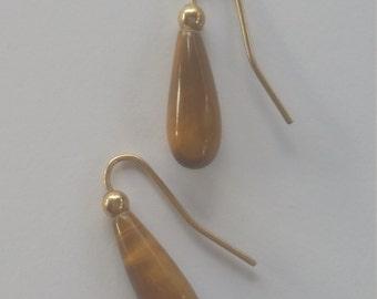 Vintage Tiger Eye Teardrop Earrings