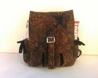 "Backpack, ""Baroque & Steampunk"", black leatherette and velvet printed Brown leatherette"