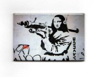 Banksy Magnet -  Mona Lisa Bazooka