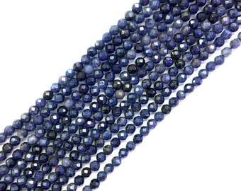 Natural Blue Sapphire 2mm 3mm Beads Faceted Genuine Dark Blue Sapphire Blue Precious Gemstone Blue Sapphire Small Beads Tiny Blue Sapphire