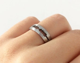 Custom Sound Ring in Sterling Silver Metal, Personalized Soundwave Ring, Waveform Wedding Ring, Voice Band Ring, I Do Wedding Ring