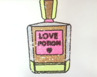 Cute Neon Perfume Bottle Sequins Iron On Patch Free Shipping!