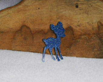 Blue Sparkle Deer Brooch on Butterfly Clasp