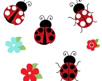 Cute Ladybug Clip Art Collection, Design, Dots, Ladybird