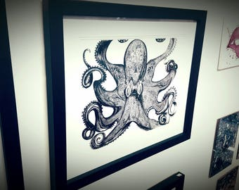 Black ink octopus print picture Ernst haeckel artwork design animal art