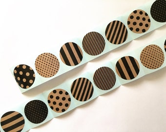 Black & Kraft Stickers roll, Store packaging, Sticker seal,  Gift wrapping,
