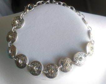 Silver and Crystal Bracelet and Earrings