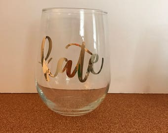 Customized Stemless Wine Glasses 9oz. or 17oz., Perfect for weddings, bridal showers, bachelorette parties, everyday use