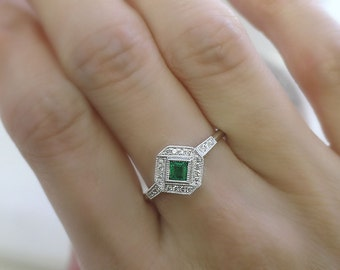 18K solid gold side-way cushion cut emerald and diamond art deco ring