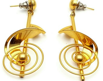 Intricate and detailed Gold tone Metal Earrings Vintage from the 90s Bohemian Musical Key