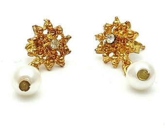 Miniature Flower Gold Tone Drop Earrings Clear Rhinestone Crystal Glass Star Vintage from the 90s Cute girl's gift