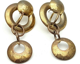 Steampunk Tangled Circle and Hoops Gold tone Metal Earrings Vintage from the 90s