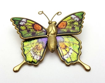 Colorful Butterfly Brooch Gold tone metal Vintage from the 90s Enamel Finish Gift for her, daughter, friend Flying Wings
