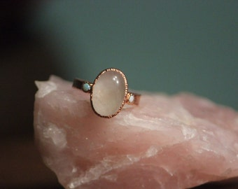 Rose Quartz with Opal ring // Copper Electroformed Jewelry
