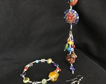 NO 182 Hand Beaded Blown Glass Necklace Bracelet and Ear Rings
