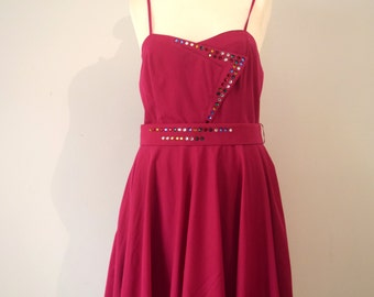 Vintage Special Occasion Dress / Party Dress / Fuchsia / Beaded / Sleeveless / Flowy / Medium