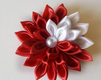 Kanzashi Hair Clip, Red Hair Bow, Red Hair Clip, Red Flower Clip, Girls Hair Bow, Hair Bow, Hair Clip, Hair Accessories
