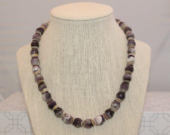 Purple Agate Beaded Necklace