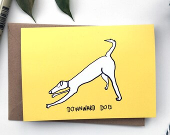 Yoga dog card, A6 greeting card, Blank dog greeting card, dog card, yoga card, funny yoga card, Dog lover card, Dog art, Dog gift,