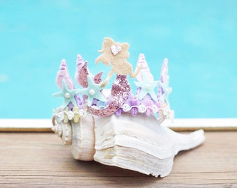 mermaid crown - mermaid headband - mermaid party outfit - 1st bday girl -  sea shell crown  - starfish headband  - mermaid head piece
