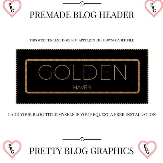 Gold glitter blog header, Black and gold logo, Premade blog header, Gold blog header, Photography Logo, Feminine blog logo