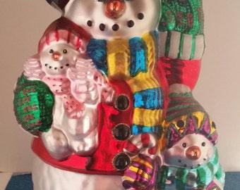 "Traditions 20"" Glass Snowman/Hand Blown Glass Snowman/Snowman 20"" Statue/Tall Glass Snowman/Christmas Snowman/Glass Snowman/Christmas"