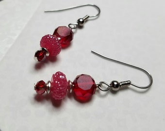 Faceted red glass and crystal dangle earrings