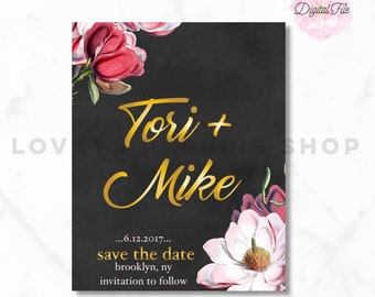 SAVE the DATE-Wedding Invite Chalk Paper Flowers Pink + White, Gold Digital Printable-Antique