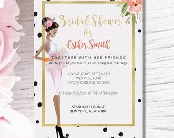 BRIDAL SHOWER INVITE- Polka Dot Gold Pink Customized Fashion Illustration Glamourous Digital Invitation-
