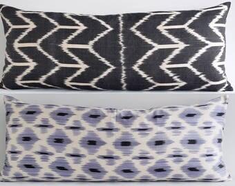 SALE! Black Gray Silk velvet ikat pillow cover, bolster pillow, long bolster pillow, bolster pillow, bolster cover, velvet bolster pillow