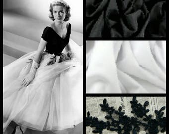 Custom Made 1950's black and white Grace Kelly Rear Window  Tulle and Applique Dress