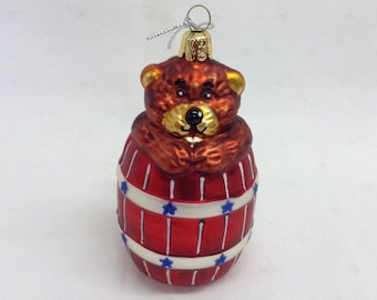 Home For The Holidays Bear In A Barrel Christmas Ornament