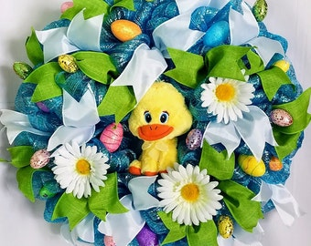 Easter Deco Mesh Wreath, Easter Duck Wreath, Easter Front Door Wreath, Blue Mesh Wreath, Easter Decor, Easter Wreath,Spring Wreath, Spring