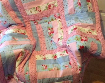 Pretty  Patchwork cot/Crib  Quilt.Cath Kidston/Ikea  Handmade Cotton. Pink and Blue.Lap Quilt or Playmat