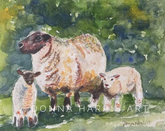 GREEN PASTURES 8 x 8 matted and framed original watercolor painting by Donna Harris.