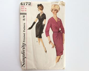 FF 1960s B36 Wrap Dress Sewing Pattern : Simplicity 4172