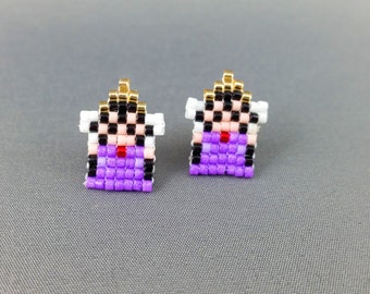 Evil Queen Earrings - Snow White Earrings Pixel Earrings Villain Earrings 8-bit Jewelry Seed Bead Earrings Pixel Jewelry