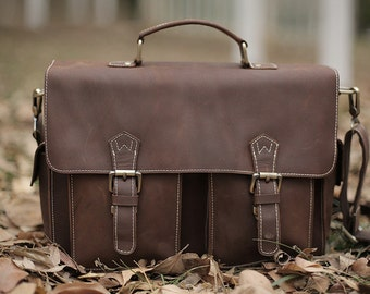 Leather DSLR Camera Bag with Insert Divider/ Messenger Bag/ Shoulder Bag/ Brown Photographer bag