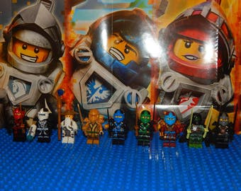 9 mini figure gold Golden Ninjago Ninja Sensei Wu, Nya, Zane, Lloyd, new