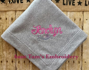 Personalized Blanket with Name, Frozen Blanket, Embroidered Blanket, Kids Fleece Blanket, Youth Blanket
