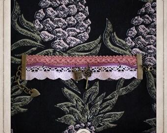 ALICE in Wonderland cuff bracelet adjustable key, padlock heart, cat of Cheshire, pink vintage trimmings, lace BRR008