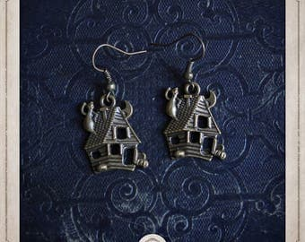 Haunted House earrings in bronze BOB067